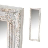 Espejo marco madera color blanco y dorado envejecido relieve clásico romántico 40x120h cm