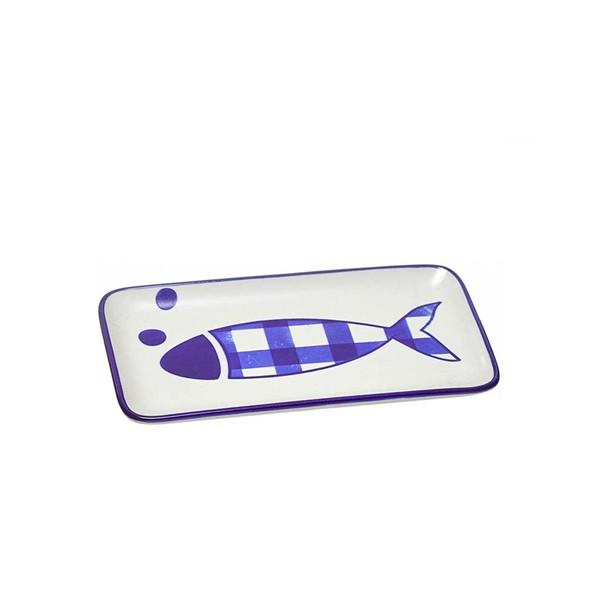 Centro de mesa fuente cerámica rectangular dibujo pez azul 23x12 cm