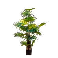 Planta artificial palmera hoja abanico en maceta plástica negra Fan Palm Tree 120h cm