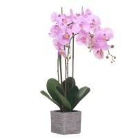 Orquídea morada con hojas artificiales Phalaenopsis maceta cerámica ladrillos 63h cm