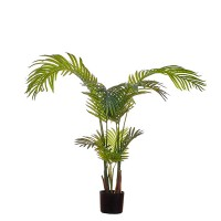 Planta artificial palmera hoja alargada en maceta plástica negra Paim Tree 110h cm