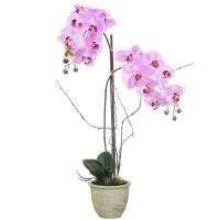 Orquídea morada con hojas artificiales Phalaenopsis maceta cerámica beige 72h cm