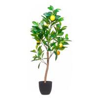 Planta artificial Limonero con limones en maceta plástica negra 90h cm