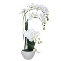 Orquídea blanca con hojas artificiales Phalaenopsis maceta cerámica blanca 53h cm