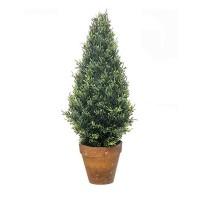 Planta artificial arbolito seto Tuya en maceta barro 57h cm
