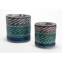 Set 2 cestas maceteros redondos fibra natural azul y verde Esmeralda Ø21x20h y Ø15x18h cm