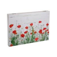 Tapa cubre contadores blanca estampada amapolas Flowers 46x4,5x33h cm
