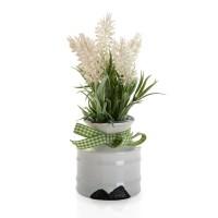 Flor artificial lavanda blanca en maceta ceramica Ø7x20h cm