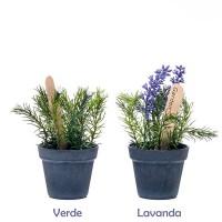 Planta artificial mini en maceta gris 2 modelos 8x16h cm