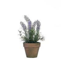 Planta artificial aromática y lavanda en maceta barro 26h cm