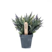Planta artificial lavanda en maceta gris 19x20h cm