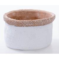 Macetero redondo cemento imitacion fibra natural blanco Ø20x13h cm