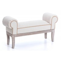 Pie de cama descalzador lino beige vivo cuerda 102x30xh53cm
