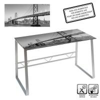 Mesa escritorio cristal templado New York Skyline estampado en blanco y negro 120x60x75cm