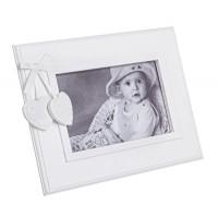 Marco fotos horizontal madera blanca con 2 corazones con lazo 22x17 cm