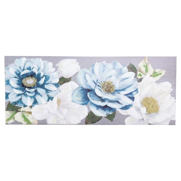 Lienzo cuadro apaisado flores azules y blancas centro dorado 150x3x60h cm
