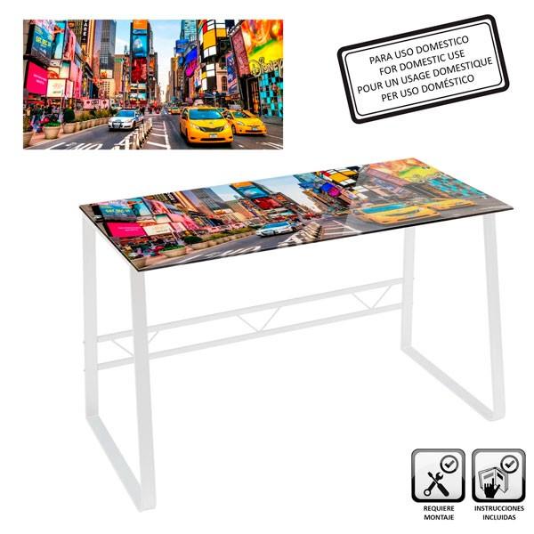 Mesa escritorio cristal templado estampado New York City colores 120x60x75cm