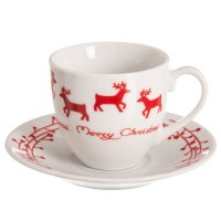 Taza café con plato decoración navideña en blanco y rojo