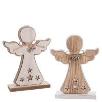 Figura madera Ángel en peana con cascabeles 2 colores 16hx4x7 cm