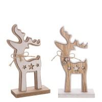 Figura madera Ciervo en peana con cascabeles 2 colores pequeño 16hx4x7 cm