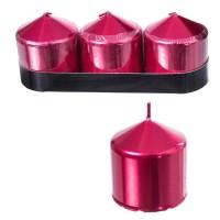 Set 3 velas cilíndricas color rojo metálico 5x5h cm