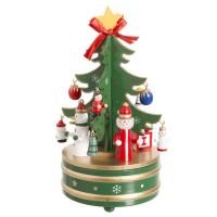 Caja música carrusel forma árbol Navidad madera verde 10,50x10,50x18h cm