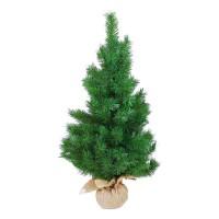 Arbol de Navidad verde en maceta rafia Ø48x90h cm
