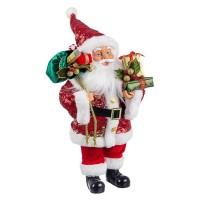 Muñeco de Navidad Papa Noel lentejuelas rojas con regalos Lustrini 26x16x45h cm