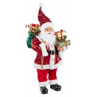 Muñeco de Navidad Papa Noel lentejuelas rojas con regalos Lustrini grande 36x20x61h cm