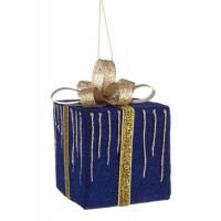 Bola árbol de Navidad forma de regalos azul y dorado 7x7x8h cm