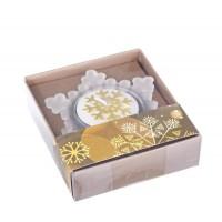 Porta vela cristal Navidad forma copo de nieve con vela blanco 8x7x1,8h cm