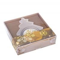 Porta vela cristal Navidad forma pino con vela blanco 9x8,7x2h cm