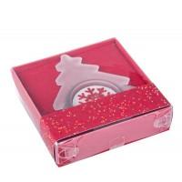 Porta vela cristal Navidad forma pino con vela blanco y rojo 9x8,7x2h cm