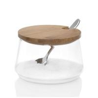 Azucarero redondo cristal con tapa bambú y cuchara Ø8.5x5 cm 250ml