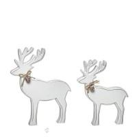 Figura navideña Reno madera blanco con lazo cuerda grande 18x3.5x22h cm