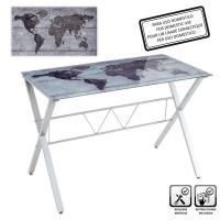 Mesa escritorio cristal templado Map 110x60x75cm