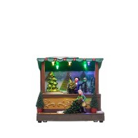 Adorno de Navidad carrillón tienda Abetos polirresina con leds y música 15.5x10x14.5h cm