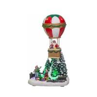 Adorno de Navidad carrillón Globo con Papa Noel polirresina con leds y música 14x11x25h cm