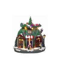 Adorno de Navidad carrillón Casa Saco polirresina con leds y música 21x18x25h cm