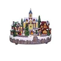 Adorno de Navidad carrillón Aldea Iglesia árbol giratorio con luz Led 28x17x22h cm