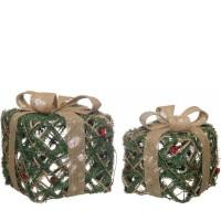 Conjunto de 2 regalos ramas abeto y lazo rafia 25x25x30cm