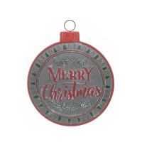 Decoración de pared bola de Navidad metálica Merry Christmas 41x50,50h cm