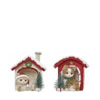 Figura navideña gato con gorro o bufanda en casita nevada 8x7,5x8,5h cm