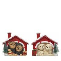 Figura navideña 2 perritos en casita nevada 10,5x7,5x9h cm