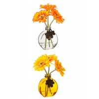 Jarrón cristal amarillo o transparente con flores Gerbera