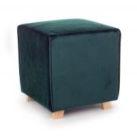 Taburete puff cuadrado terciopelo verde oscuro y patas madera 40x40x44h cm