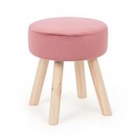 Taburete puff redondo patas madera y terciopelo rosa Adeline Antik 34x38h cm