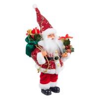 Muñeco de Navidad Papa Noel lentejuelas rojas con regalos Lustrini pequeño 20x13x31h cm