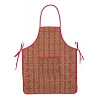 Delantal algodón rojo con bolsillo y estampado navideño árboles Navidad 60x75cm