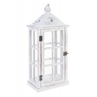 Farol madera blanca con puerta alargado 23x15,5x55h cm